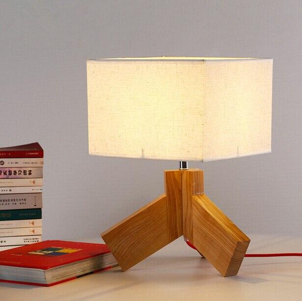 Американской моды дерево Спальня тумбочка лампа Северной Европы Творческий Гостиная Настольные светильники Бесплатная доставка