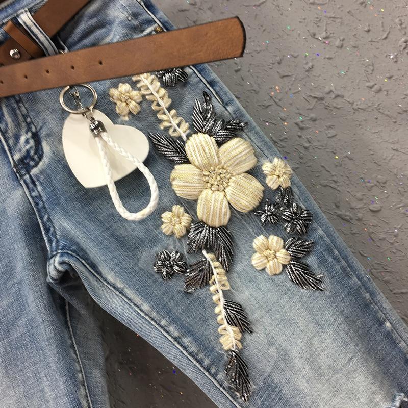 Jeans Micropants Couture Chart Maille Fleur Nouvelle Européenne Femmes See Trois Station Décoratif S Dimensions Résille w6607Iq