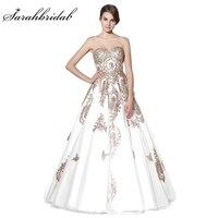 Vestido De Noiva New Arrivals Wedding Dresses 2017 Ball Gown Tulle Lace Up Sweetheart Gold Appliques Arabic Bridal Gowns LSX359