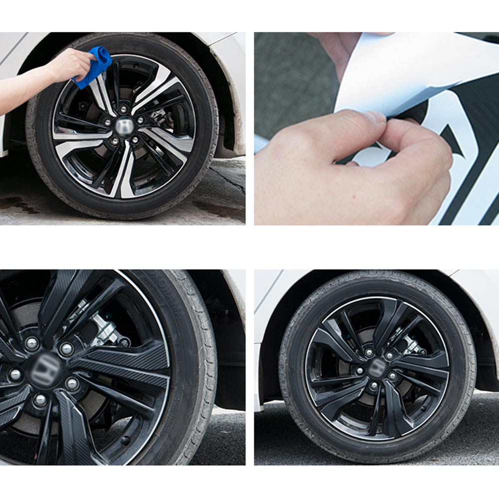 Imtfoo black carbon fiber vinyl wrapping wheel rim decal sticker for honda civic 2016 2017 2018 accessories car styling in car stickers from automobiles