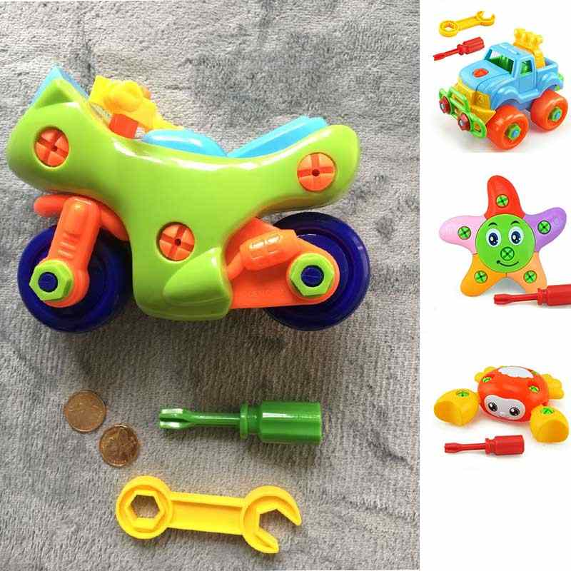 DIY Disassembly Assembly Toys for Children Car/Helicopter/Motorcycle Educational Blocks Toys With Assemble Screw Driver Nut