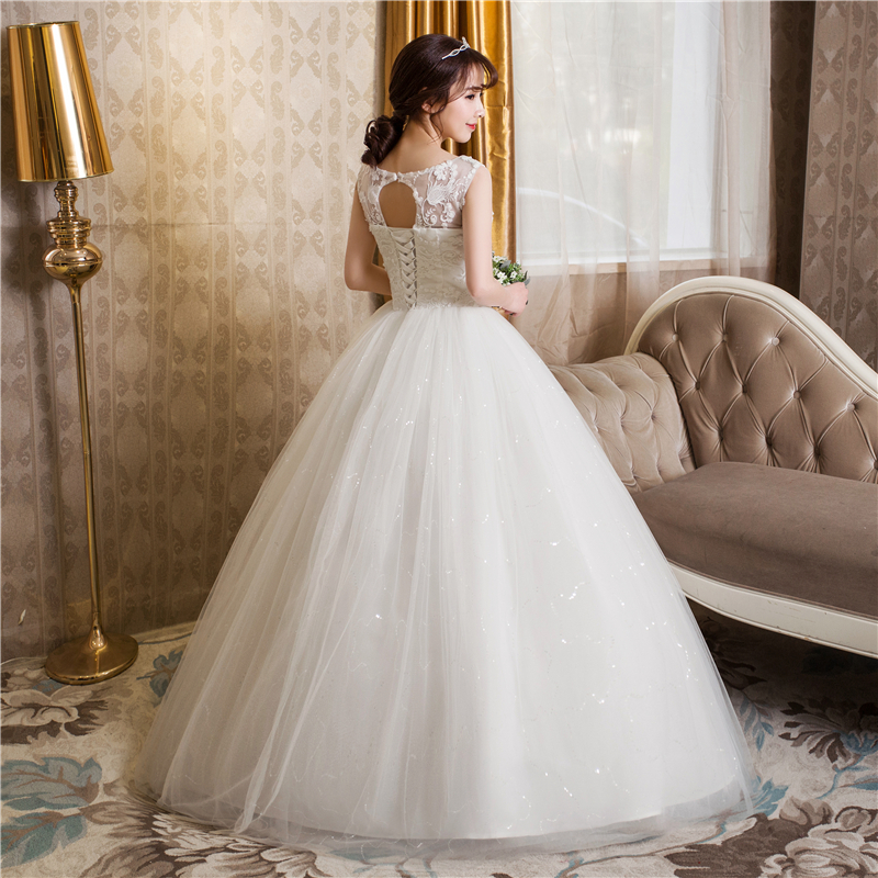 Free shipping New 2017 Summer O-neck Lace White Wedding Dresses Plus ...
