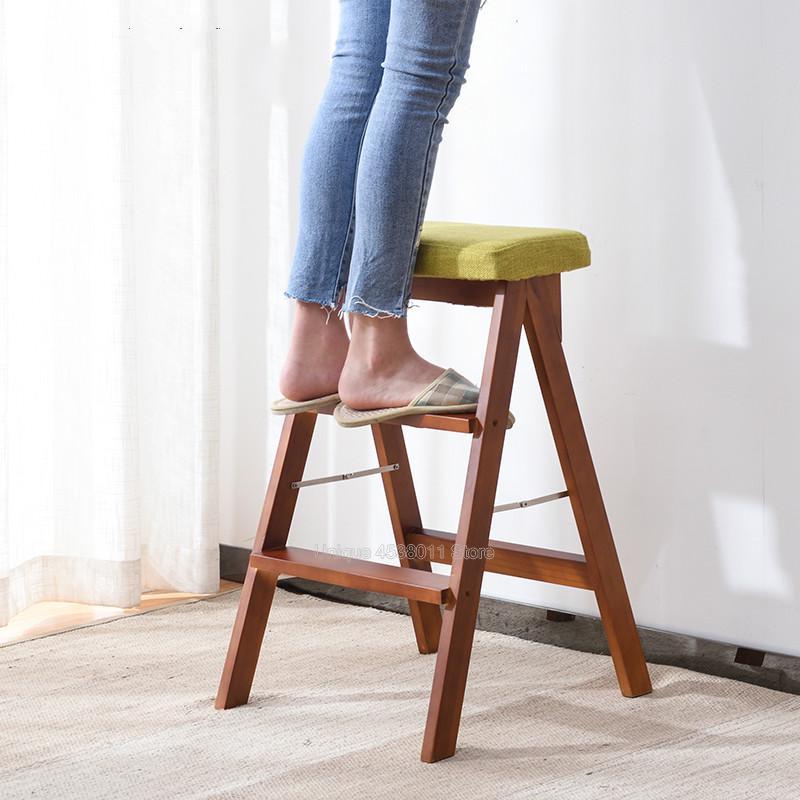 15% Massivholz Schritt Hocker Hause Drei Schritt Folding Leiter Zimmer Innen Multi Funktion Leiter Stuhl Küche Dual Verwenden Aufsteigend Treppen Halten Sie Die Ganze Zeit Fit