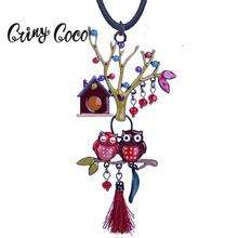 Cring Coco Custom Jewelry Birthday Gift Cute Couple Owls Pendants Necklaces Colorful Enamel Big Tree Pendant Necklace for women