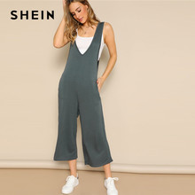 6a50733a8e9b SHEIN Preppy Blue Double V-neckline Low Side Wide Leg Plain Jumpsuit  Elegant Women Spring Mid Waist Sleeveless Jumpsuits