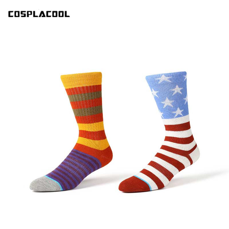 [COSPLACOOL]USA National Flag Funny Stripe Skateboard Socks Men Unisex Meias Cotton Korean Street Harajuku Hip Hop Calcetines