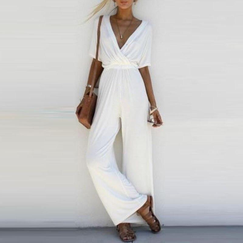 Fashion Women V Neck   Jumpsuit   Short Sleeve Playsuit Party Wide Leg Solid Long Trousers Romper
