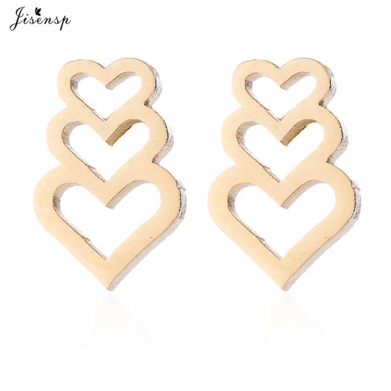 Jisensp creux coeur collier ensembles de bijoux pour les femmes en acier inoxydable boucles d'oreilles amour pendentif collier ras du cou accessoires Mujer