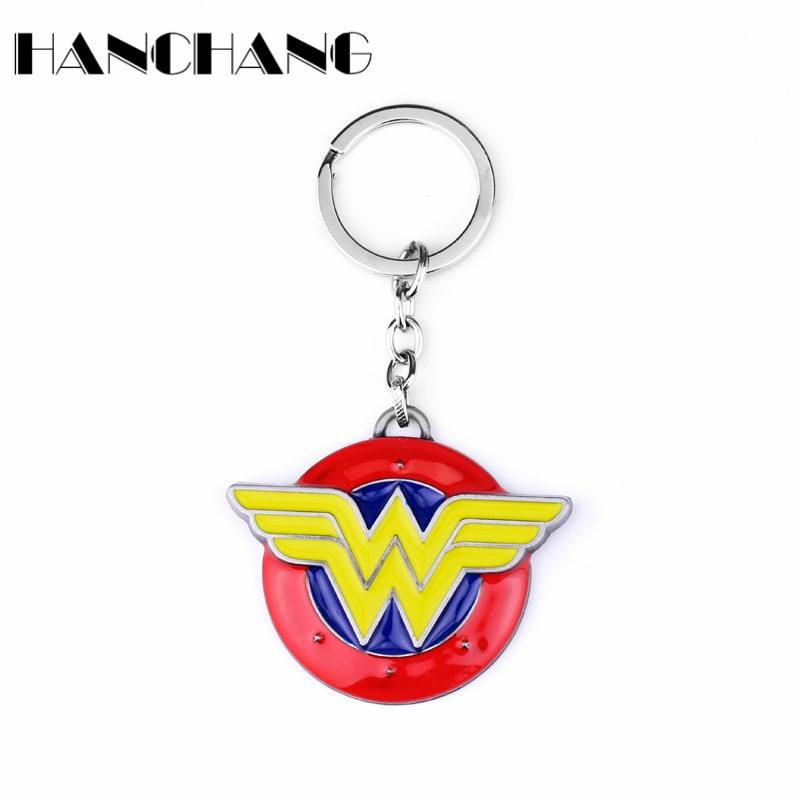 Personalized Movie Jewelry DC Comics Wonder Woman W Logo Keychain Keyring Car Key Chain Chaveiro