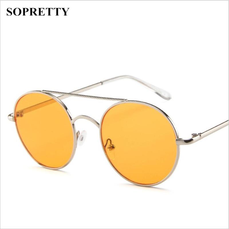 Round Sunglasses Women Retro Glasses Uv400 Fashion Sunglasses Double Nose Bridge Metal -7142