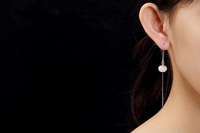 Boucle doreille en argent Sterling S925, de Lotus, Jade, pendentif pour femmes, mode, Simple, haut de gamme, vente en gros