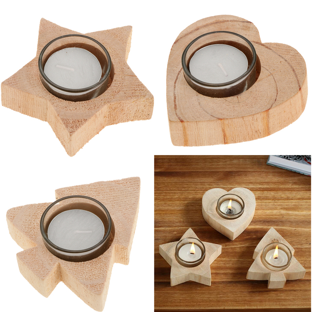 Wooden Tea Light Candle Holder for Wedding Christmas- Heart/ Star/Tree 10cm Portable 1 wood base + 1 holder cup
