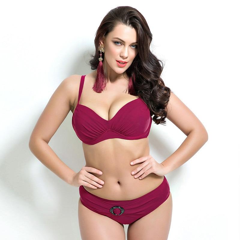 2017 Legújabb Plusz Méret Push Up Bikini Nyári Szuper Nagy Kupa Női Fürdőruha Tömör Magas derék Szexi Fürdőruha Maillot De Bain Femme