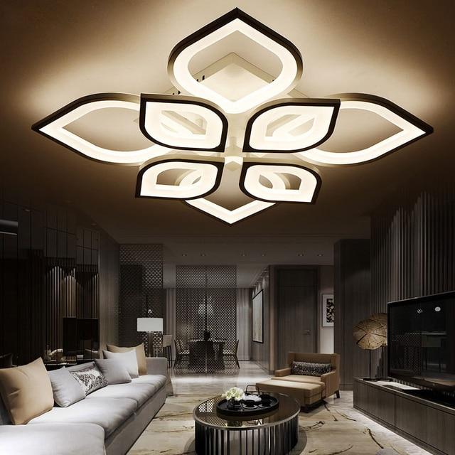 ceiling light fixtures for living room grey walls with brown furniture modern acrylic design lights bedroom 90 260v white lamp led home lighting