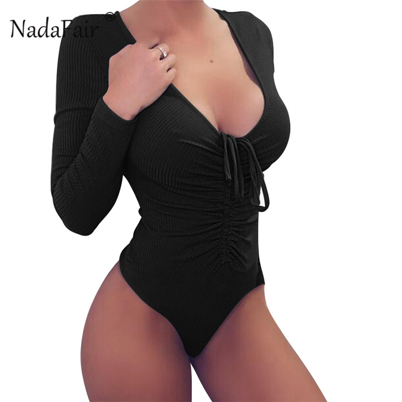 Nadafair rib knitted sexy black bodysuits women rompers 2018 autumn v neck  ruched long sleeve rompers 85bc1bc00