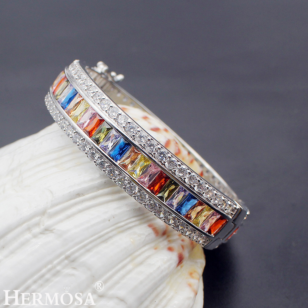 HERMOSA Multi-precious Stones color Bracelet Morganite Garnet Peridot 925 Sterling Silver 8 inch uxcell kcx2 6 10mm mounting hole dia 2p6t 2 pole 5 way two decks 14pin band channael rotary switch selector
