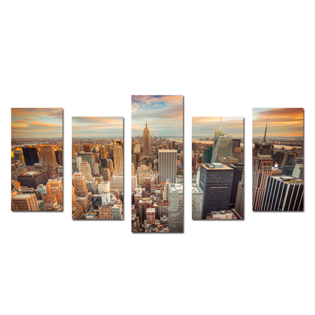 New York Cityscape Empire States Building Split 5 Panel Canvas Wall Art For  Living Room Paintings