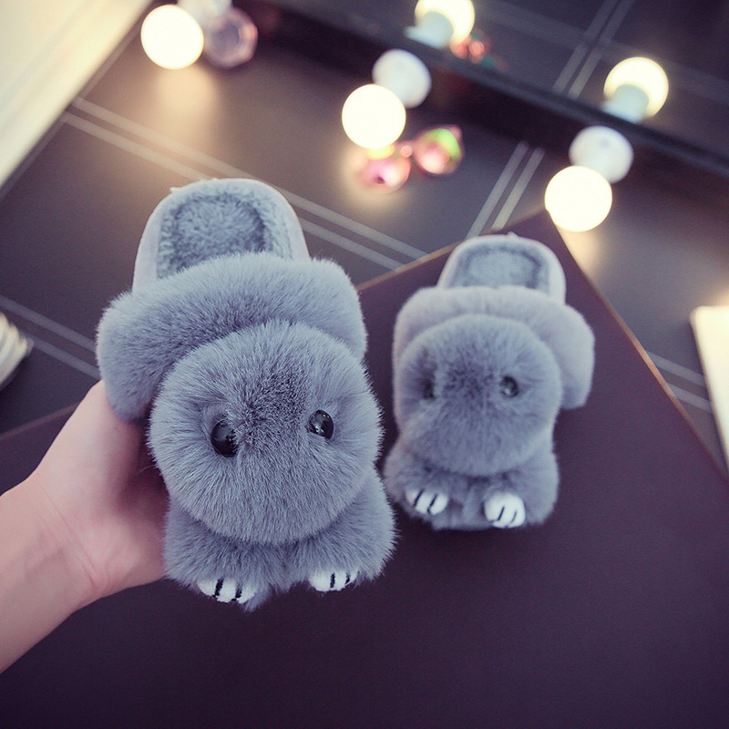 Parenting Home Shoes Comfortable Cartoon Rabbit Children Slippers Warm Soft Bedroom Plush Shoes Kids Boys Girls Slippers