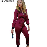 LE CELEBRE Full Length Bodysuit Women 2018 Skinny Ladies Jumpsuit Long Sleeves Jumpsuits Body Feminino
