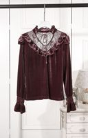 Women fashion vintage ruffles stand collar lace patchwork velvet tops flare sleeve gothic sexy blouse new 2018 autumn black red