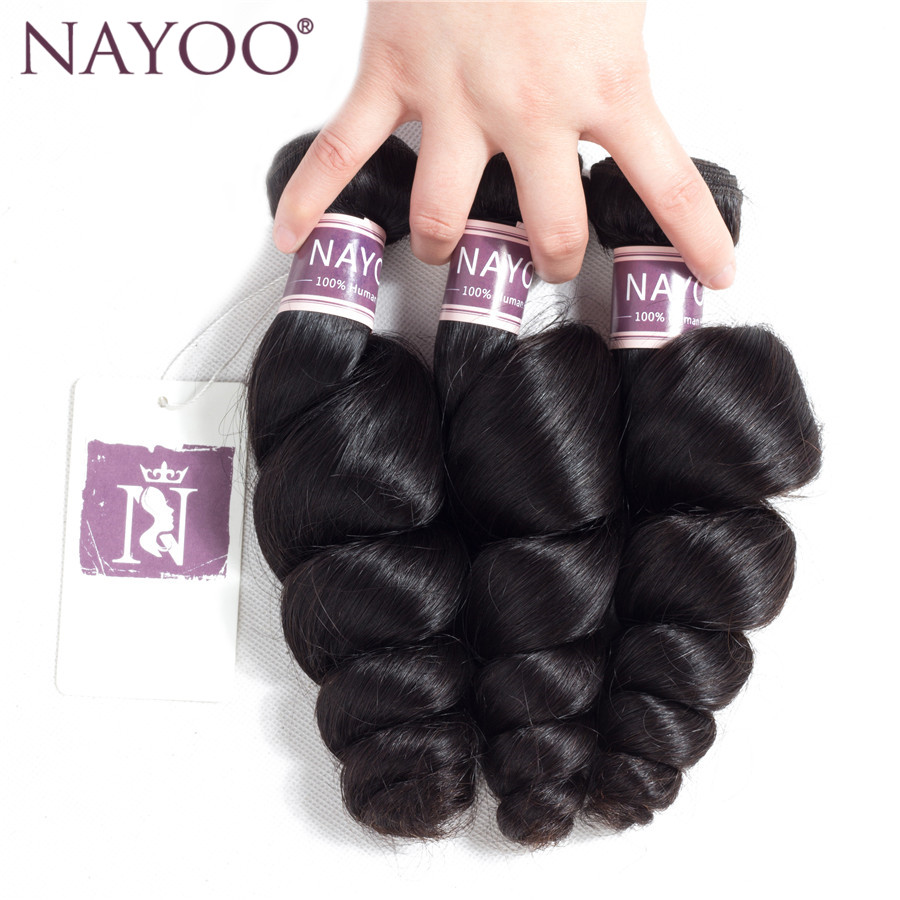 NAYOO Mongolian Loose Wave 3 pieces 100% Human Hair Extensions Natural Color Hair Weave Bundles No Shedding Non Remy