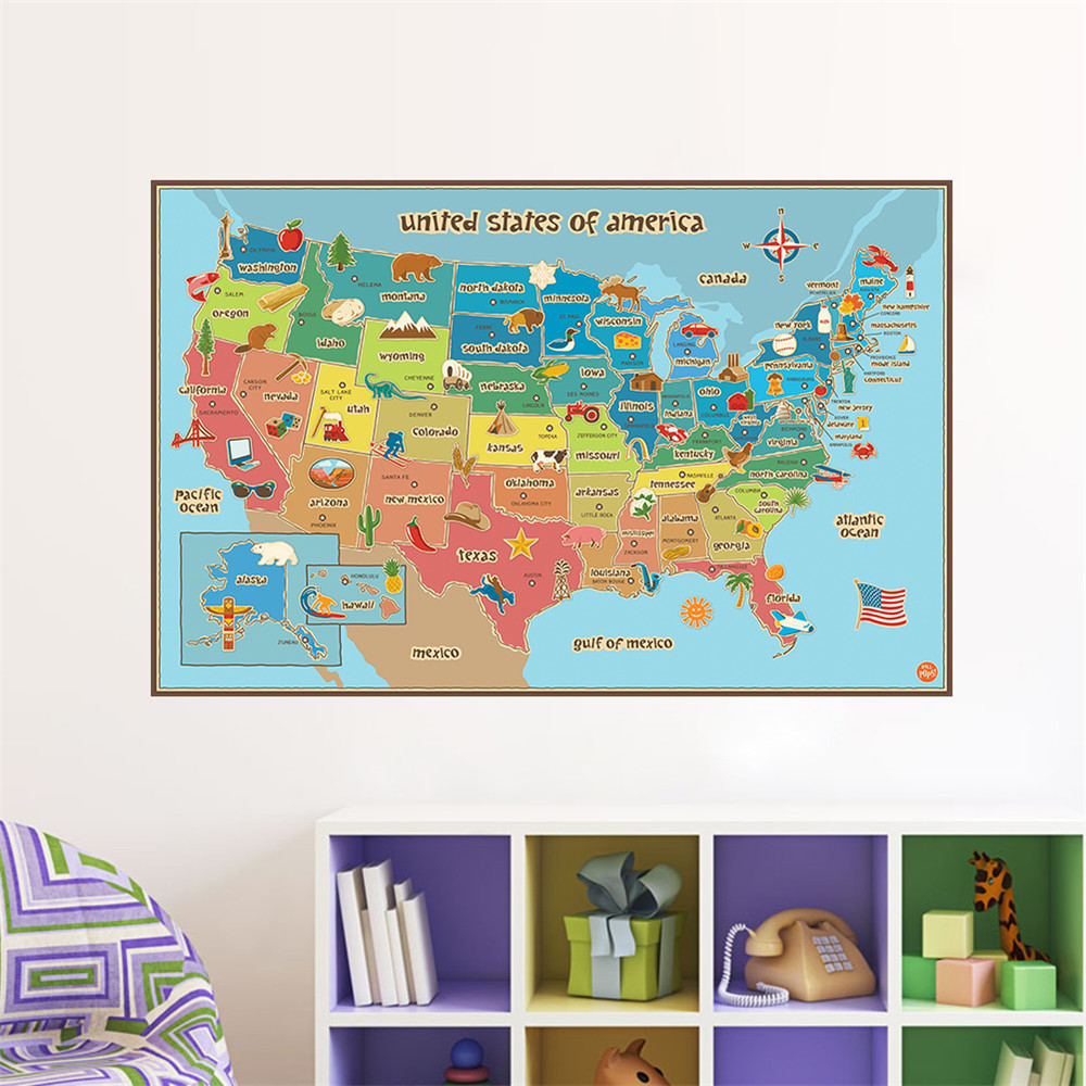 New Map Of American Usa Animals Food Plant Sign Home Decal Wall Sticke School Background Wall