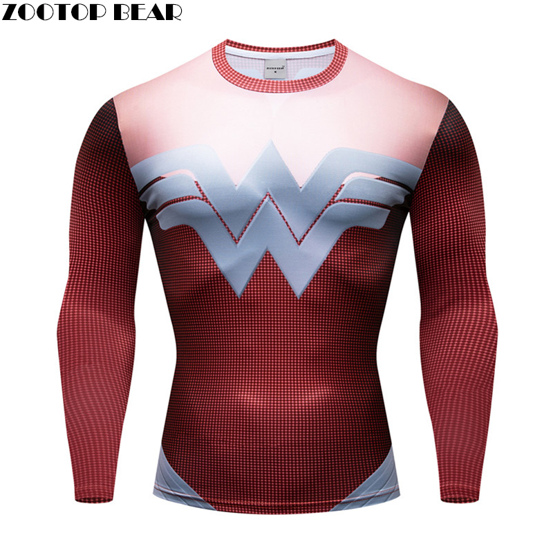 Letter t shirt Men Compression Superhero T-shirt 3d Prints Tops quick dry Breathable Fitness Male Spring Long Sleeve ZOOTOP BEAR