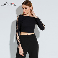 Kinikiss Women Tops Hollow Out Lace Up Sexy Black Gothic Short T-shirts Long Sleeve Criss Cross Slim Knitted Cropped Shirts Tops