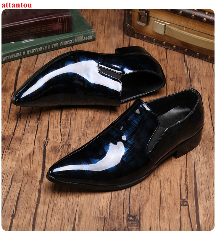 Men's Leather Shoes Blue Single Shoes Mirror Surface Male Casual Shoes Slip-on Man Office Meeting Feast Formal Shoes Autumn hot sale autumn silver pointed toe men dress shoes black leather luxury male casual shoes slip on man office feast formal shoes