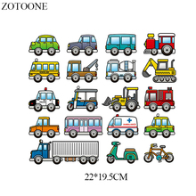ZOTOONE Cars Patch Set Iron On Transfer Cartoon Bikes Patches For Clothing Heat Viny Lstickers Clothes Thermal Press