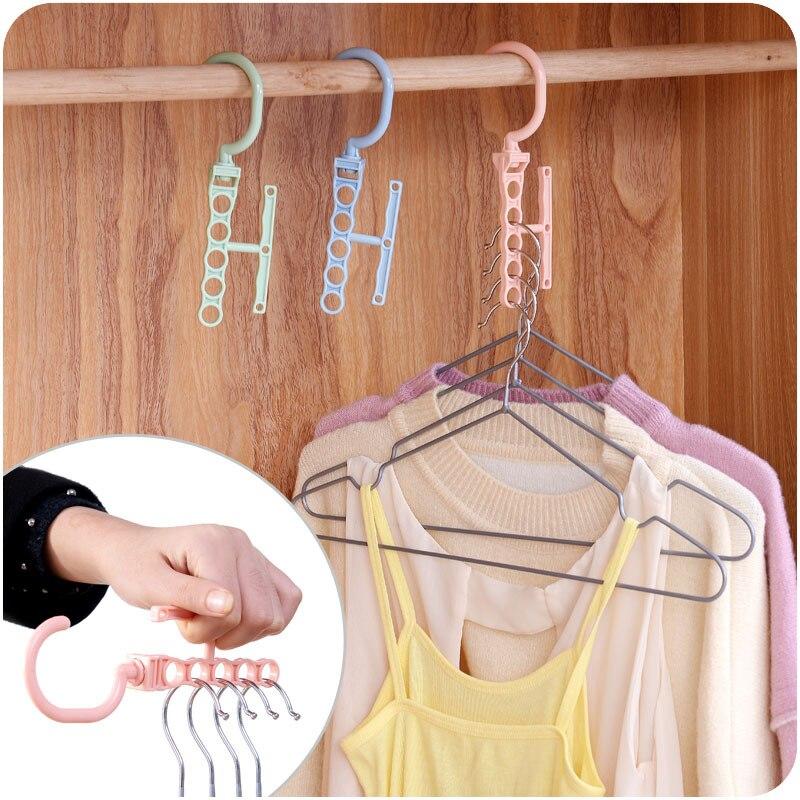 vanzlife Multifunctional creative five holes with handle hanger clothes storage finishing rack wardrobe new rack