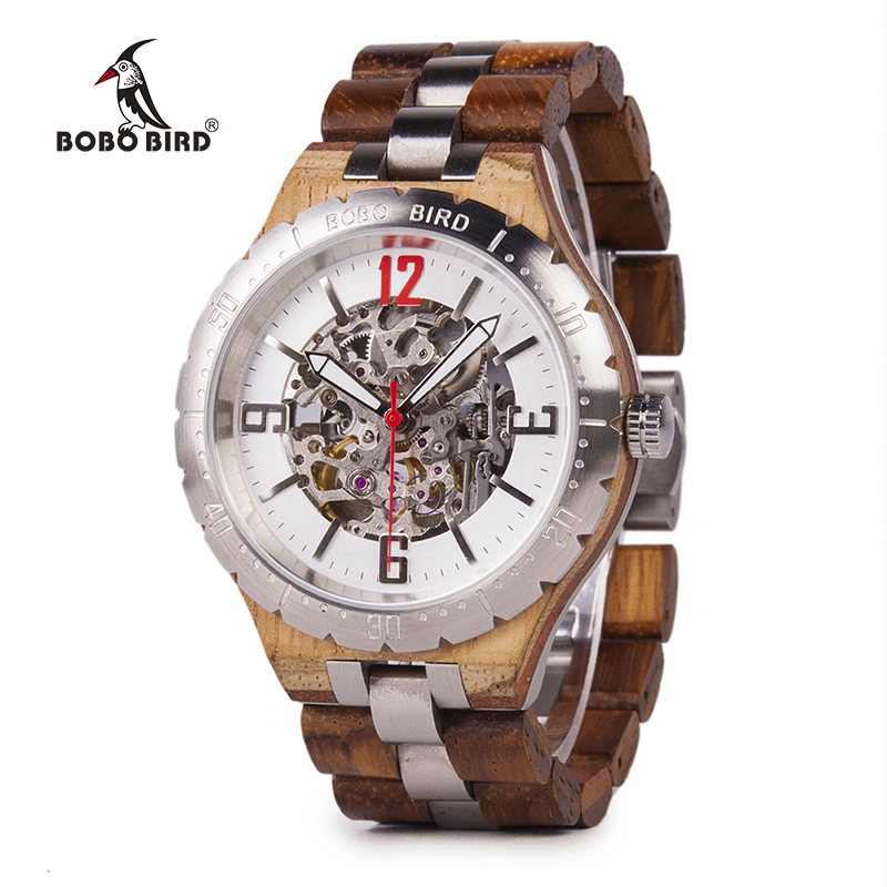 BOBO BIRD Mechanical Wristwatches Men Wooden Metal Watch Waterproof Luxury Timepiece relogio masculino C uQ29