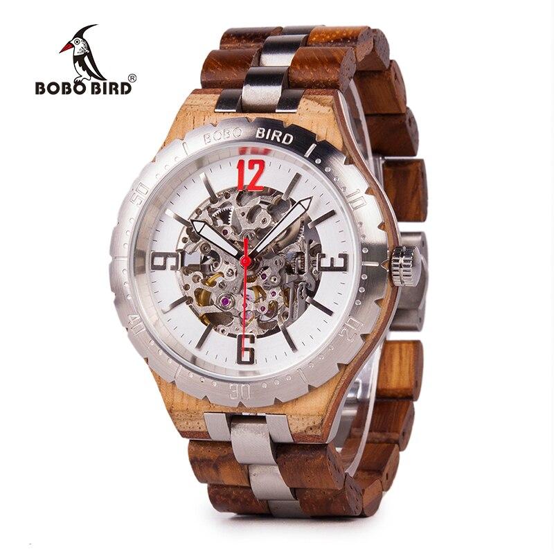 BOBO oiseau montres mécaniques hommes montre en bois en métal étanche montre de luxe relogio masculino C uQ29-in Montres mécaniques from Montres    1