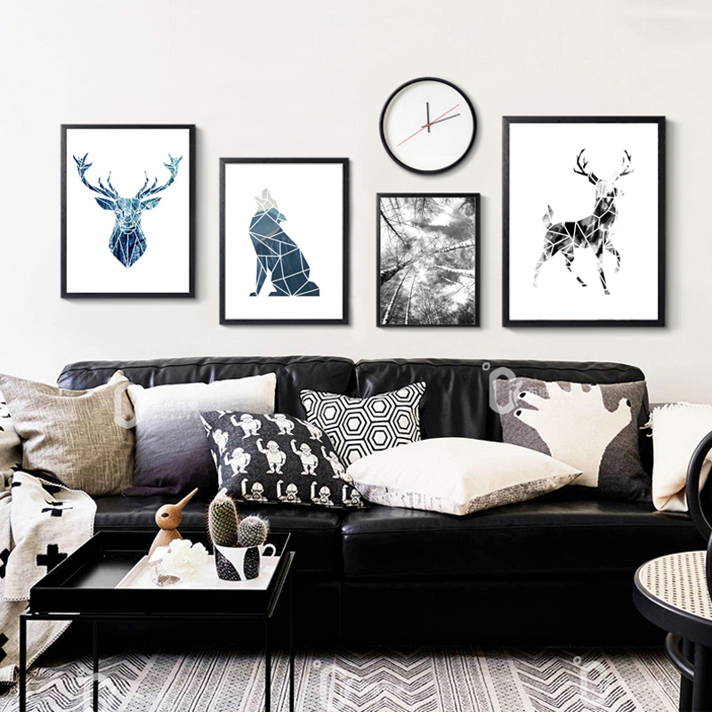 Nordic Black And White Still Life Tree Branches Canvas Painting Animals Geometry Wolf Poster Deer Wall Picture Home Room Decor