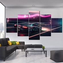 In Rain Night Cool Artistic Sport Car Back View Canvas Painting HD Print Type Home Wall Decor 5 Piece Modular Style Picture