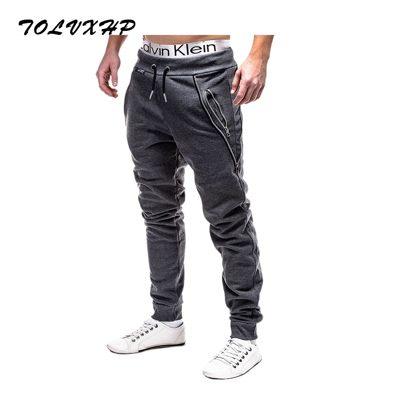 TOLVXHP 2018 Brand Men Pants Hip Hop Harem Joggers Pants 2018 Male Trousers Mens Joggers Solid Zipper decoration Pants Sweatpant