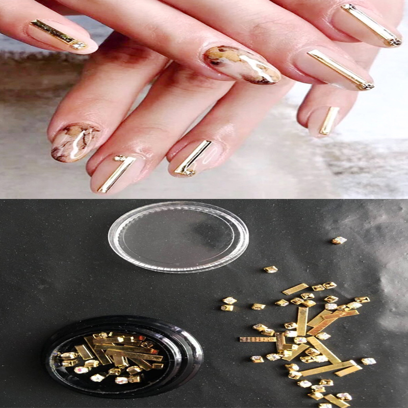 1 Box Gold Rivet Nail Studs 3D Charms Stone Clear/Ab Color Rhinestones Mixed Accessories in Mixed-size