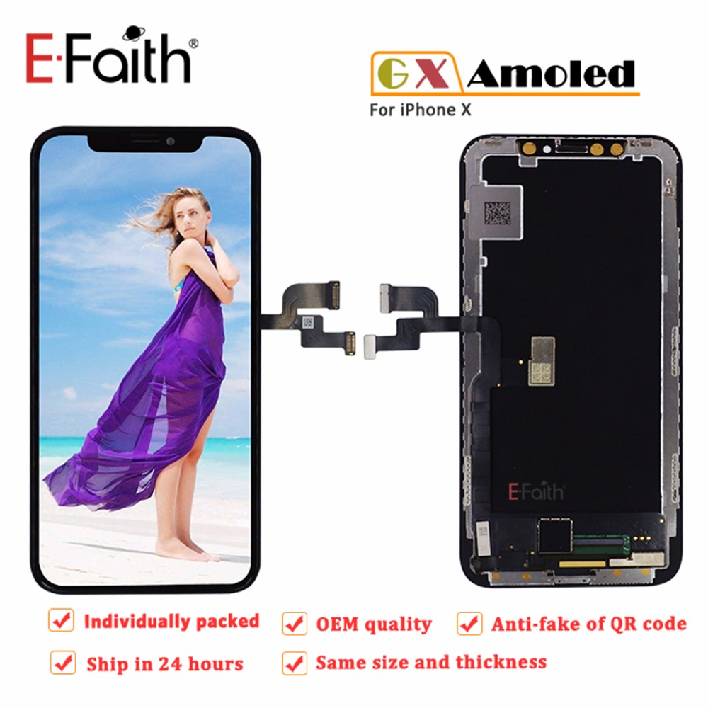 100PCS E FaithSoft Amoled LCD For Apple iPhone X Flexible Display With Touch Screen Replacement Digitizer OEM-in Mobile Phone LCD Screens from Cellphones & Telecommunications