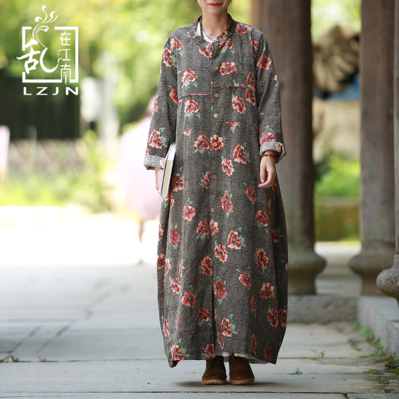LZJN Long   Trench   Coat For Women 2017 Autumn Duster Coat Female Ethnic Flower Trenchcoat Windbreaker Chic Overcoat Kaban 32240