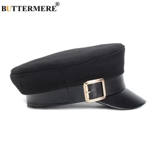 где купить BUTTERMERE Military Hat Women Army Cap Woolen Patchwork Leather Black Baker Boy Hat Spring Autumn Brand Sailor Flat Top Hat по лучшей цене