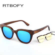 RTBOFY New fashion Products Men Sunglass Bamboo Sun Glasses Vintage Wood HD Polaroid Lens Wooden Frame Handmade