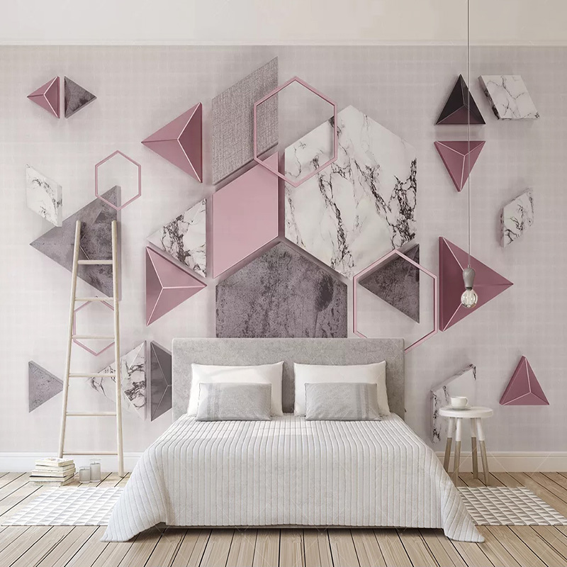 3D Wallpaper Modern Stereo Geometry Polygon Marble Texture Photo Wall Murals Living Room TV Sofa Study Abstract Art Wall Papers