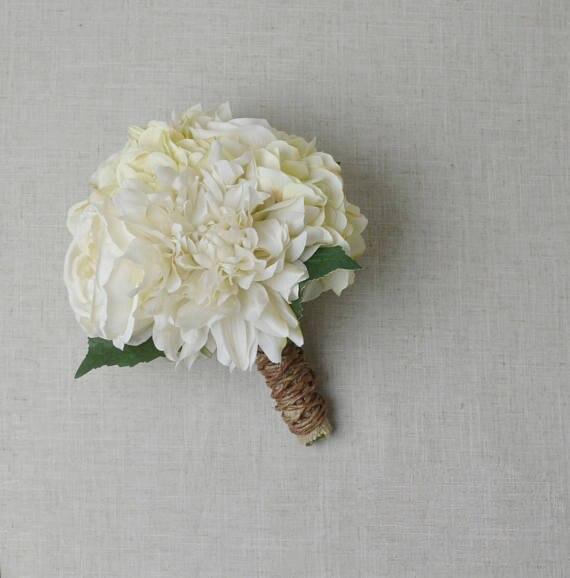 Ivory Wedding Bouquet Bridal Silk Flower Bouquet Shabby Chic Rustic ...