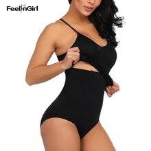 FeelinGirl 4 Steel Bone Shapping Vest and High Waist Panty Set Underwear Waist Trainer Body Shaper Tummy Control Butt Lifter