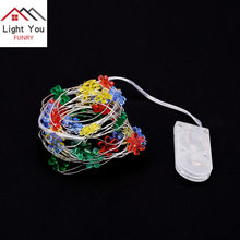 30LED Colorful Flower Shaped Silver Line Light String Christmas Button Battery Box Decorative Light String(China)