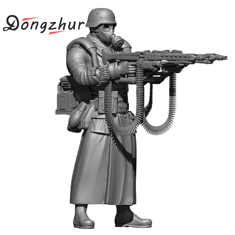 Dongzhur 1/35 German Army Super Resin Soldier Model Diy Handicrafts Cool Resin Gun Model And Gas Mask Soldier Figures Pure Whiteness Model Building Kits