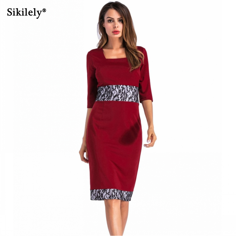 US $15.65 30% OFF|Sikilely Office Burgundy Work Dress Square Neck 3/4  Sleeve Plus Size Knee length Ladies Pencil Dresses Lace Bodycon S 4XL-in  Dresses ...