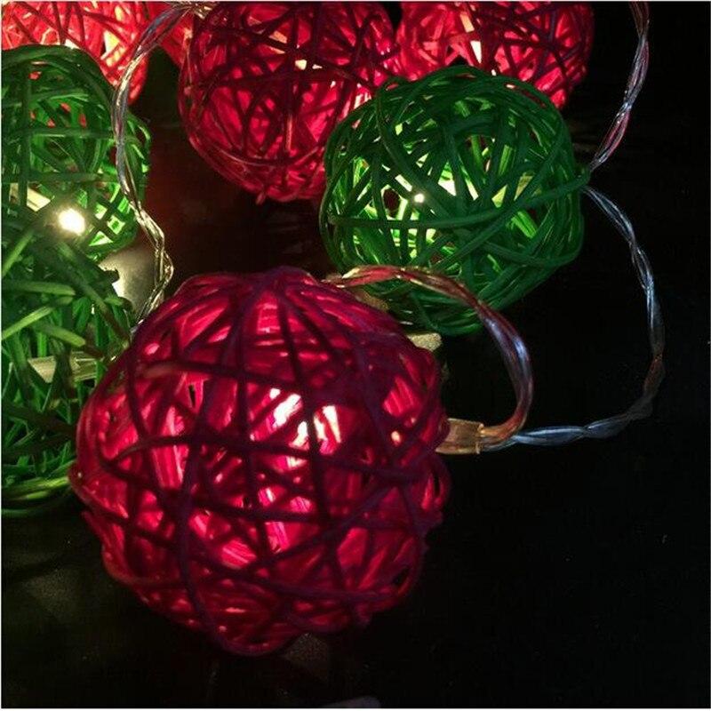 4cm Big Red Green rattan ball 4M 20LED string christmas light chain indoor EU/US wedding home decor fairy light garland new year