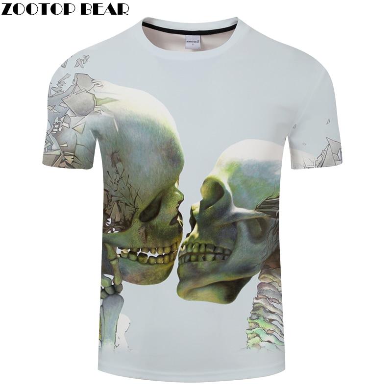 Double Skull 3D Print t shirt Men Women tshirt Summer Funny Short Sleeve O-neck Tops&Tees Camisetas Loose Drop Ship ZOOTOP BEAR