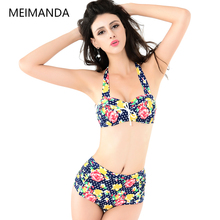 Summer Beach Bikinis Suits Flowers Print Striped Pretty Swimwear High Waist Steel ring Sexy Bikinis For Young Girls 2017 HZ034